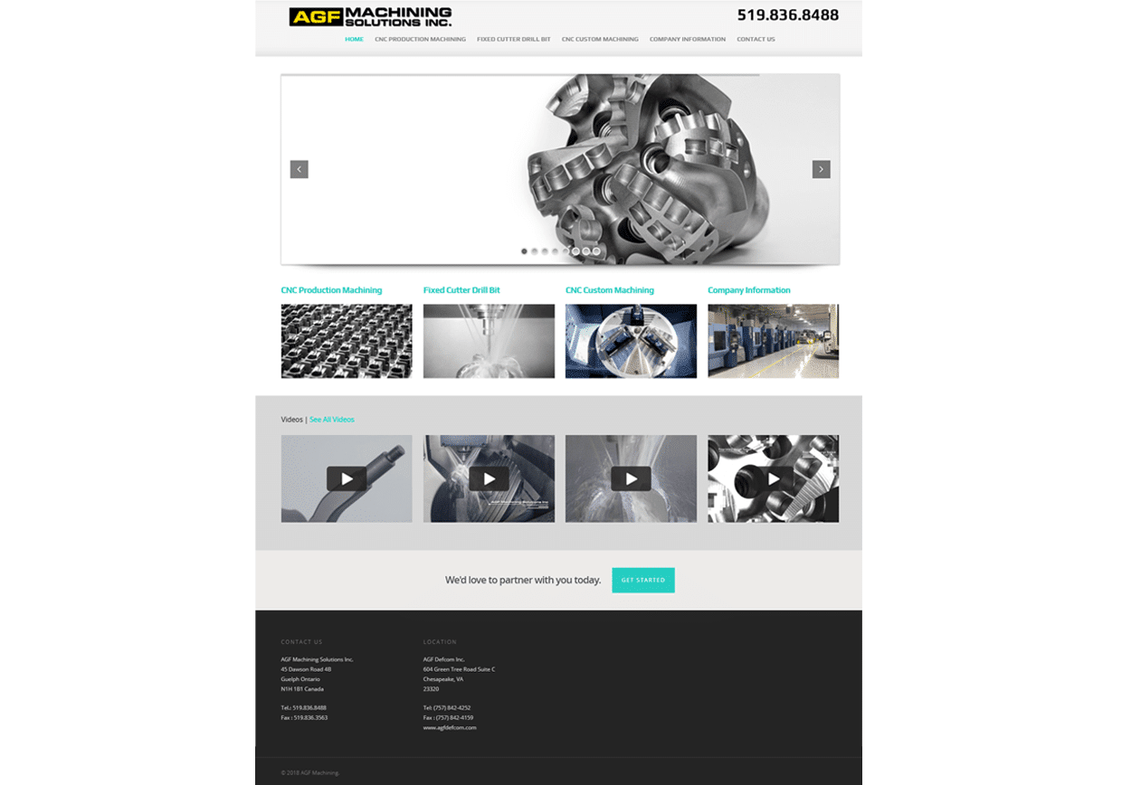 AGF Machining website design services lunarstorm portfolio