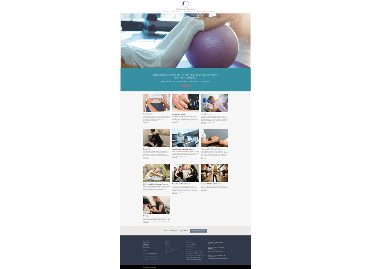 South City Physiotherapy mobile web design service page