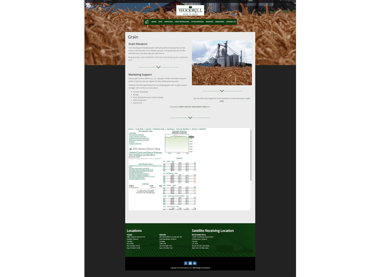 Woodrill farms website design services Guelph from Lunarstorm