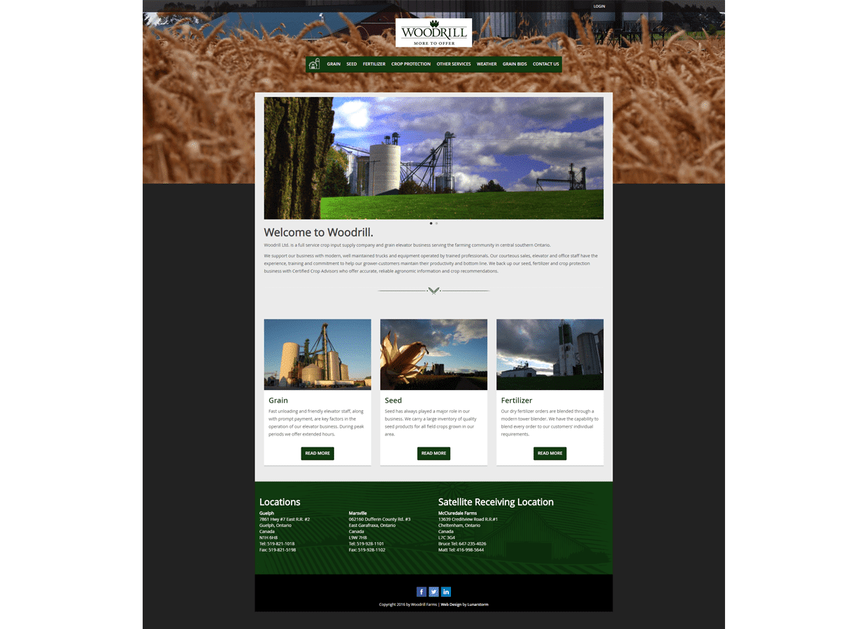 Woodrill farms website design services Guelph