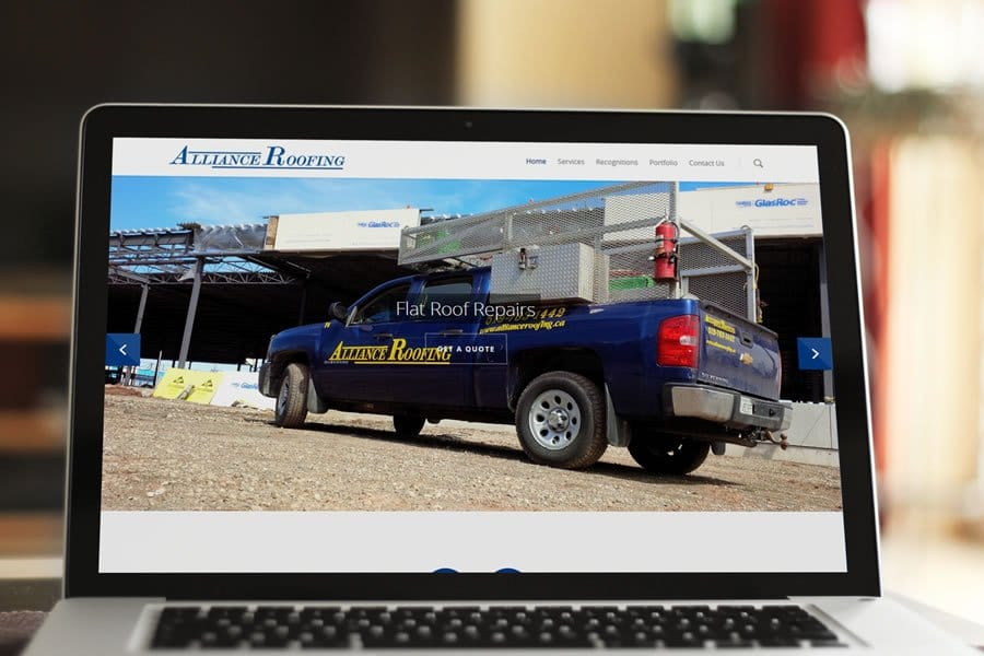 alliance roofing sheet metal custom web design Guelph from Lunarstorm