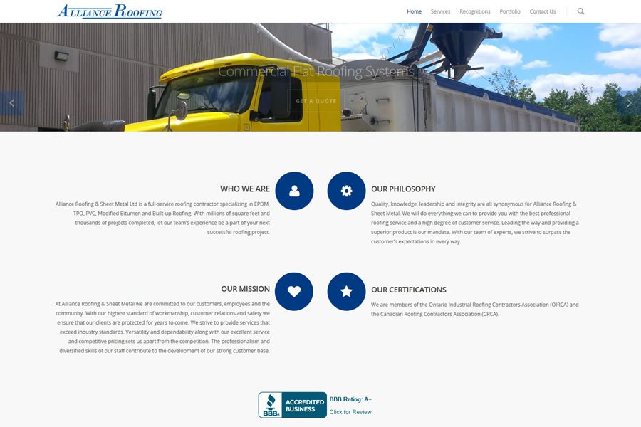 alliance roofing sheet metal web design guelph from Lunarstorm