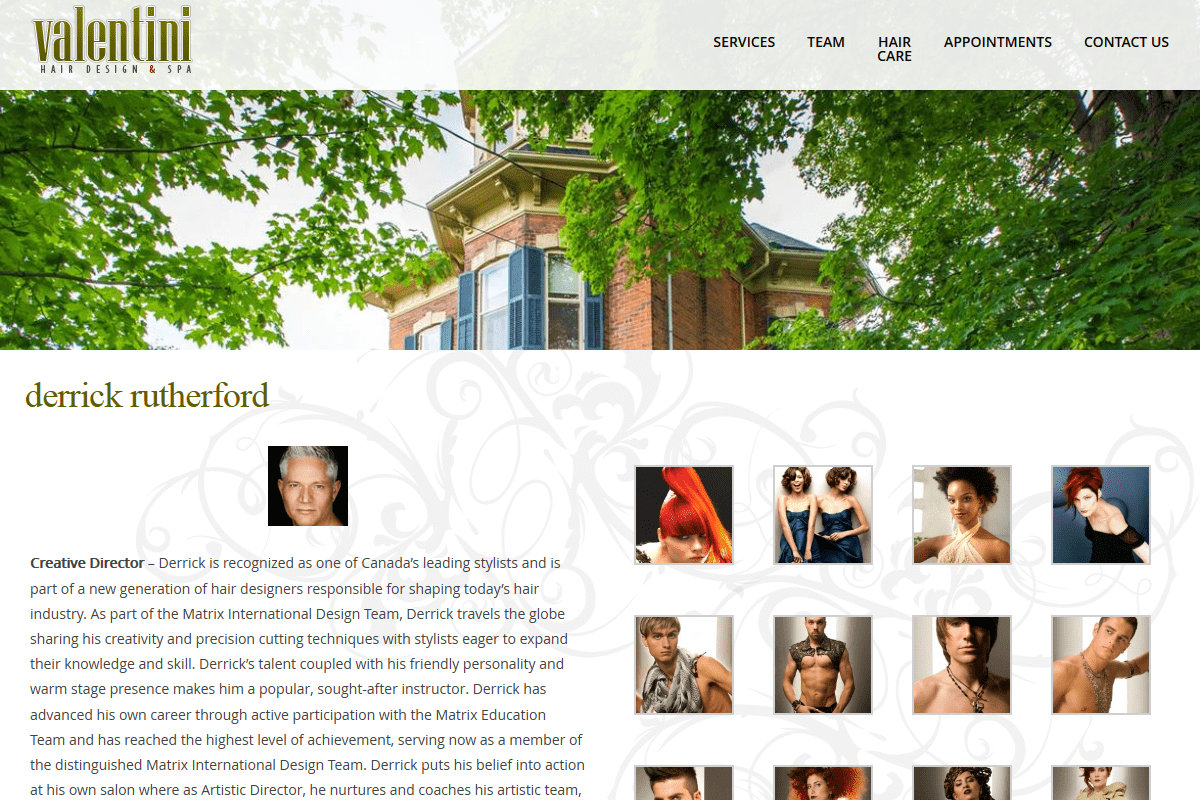 Valentini Hair Design custom web design services Guelph from Lunarstorm
